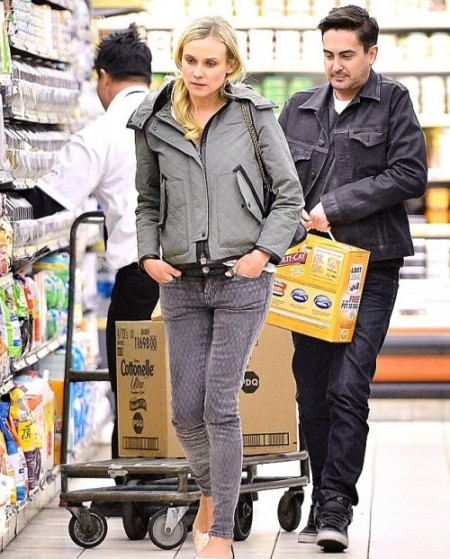 Diane Kruger StyleChi Casual Style Grey Quilted Skinny Jeans Quilted Jacket
