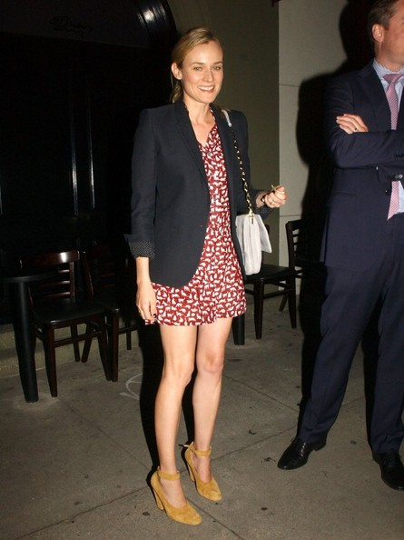 Diane Kruger StyleChi Casual Style Red White Animal Pattern Mini Dress Navy Blazer White Chain Bag Beige Suede Mary Jane Heels