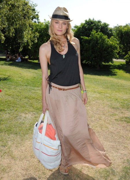 Diane Kruger StyleChi Coachella Festival Style Black Halterneck Loose Fitting Top Beige Maxi Skitr Straw Hat Black Ribbon Turquoise Necklaces Large White Beach BagBrown Belt