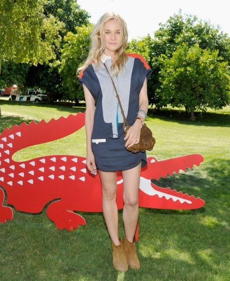 Diane Kruger StyleChi Coachella Festival Style Light Blue Navy Red White Short Sleeved Shirt Dress Beige Brown Suede Ankle Boots Small Brown Satchel Bag