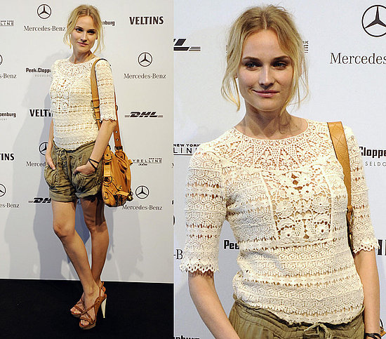 Diane Kruger StyleChi Cream Crochet Top Brown Tan Shoulder Bag Khaki Linen Shorts Brown Heeled Sandals