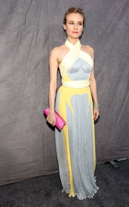 Diane Kruger StyleChi Critic's Choice 2012 Cross Front Halter Neck Gown Light Blue Yellow White Pink Clutch