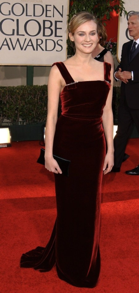 Diane Kruger StyleChi Golden Globes Dark Red Velvet Wide Strap Gown Red Carpet Look Black Clutch