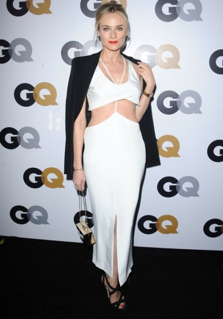 Diane Kruger StyleChi GQ Stella McCartney Red Carpet Style White Front Slit Dress Crop Top Combi Black Blazer Cross Front Heels 2013 Red Lip