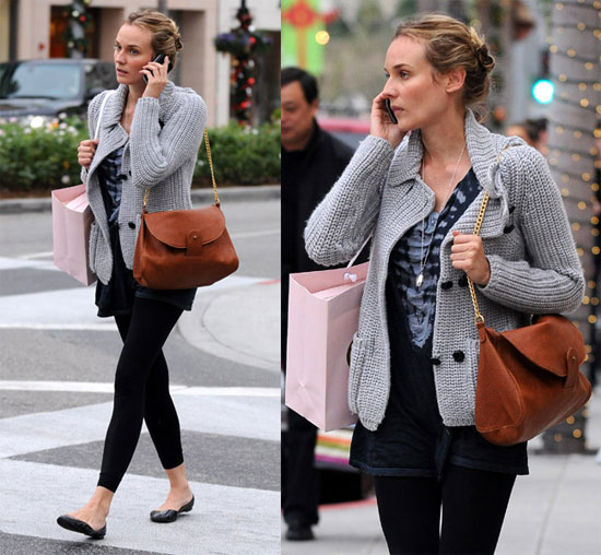 Diane Kruger StyleChi Grey Knitted Cardigan Brown Gold Chain Bag Skeleton Print T-Shirt Dress Leggings Slip On ballerina Flats