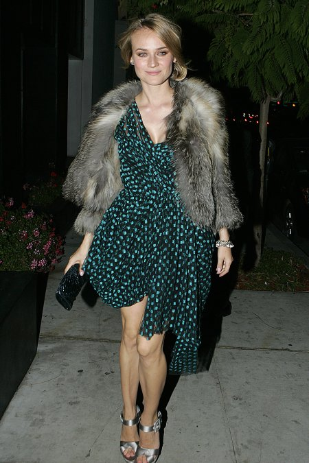 Diane Kruger StyleChi Jason Wu Fur Coat Green Black Asymmetrical Short Dress Silver Satin Heels