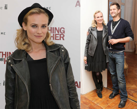 Diane Kruger StyleChi Joshua Jackson Leather Jacket Hat Black Dress Studded Boots