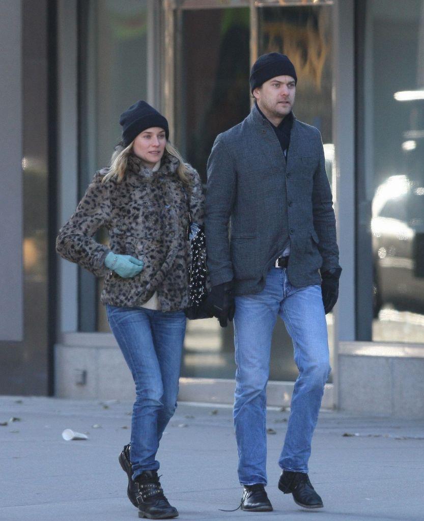 11efbdf18608 ... Diane Kruger StyleChi Leopard Fur Coat Black Beanie Slim Denim Jeans  Studded Strap Biker Boots Casual ...