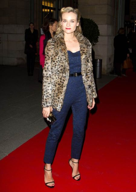 Diane Kruger StyleChi Leopard Fur Coat Navy Blue Lace Strapless Jumpsuit Belt Barely There Heeled Sandals Retro Hair