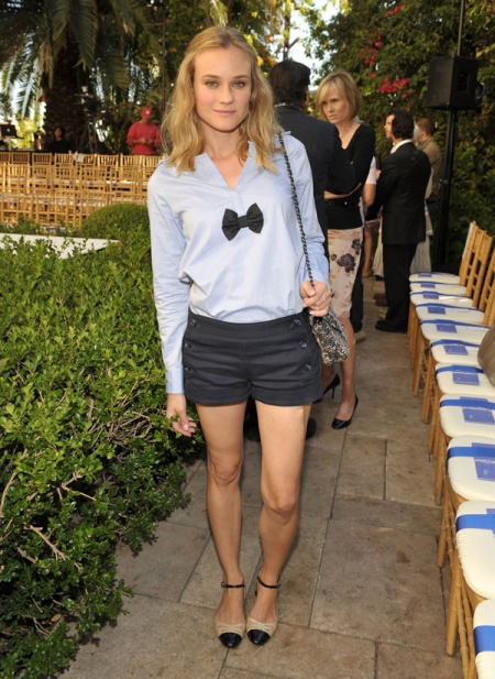 Diane Kruger StyleChi Light Blue Shirt Blouse Black Bow Navy Sailor Shorts Black Beige Capped Toe Mary Janes