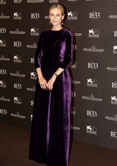 Diane Kruger StyleChi Long Sleeve Purple Velvet Gown Pendant Earrings