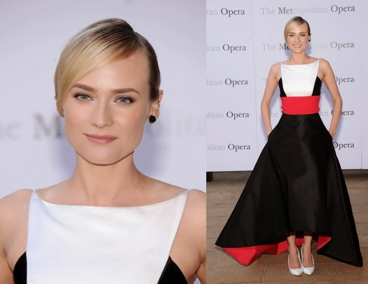 Diane Kruger StyleChi Minimal Red Carpet Style White Black Red White Colour Block Hi Lo Gown White Heels Updo Black Rose Earrings