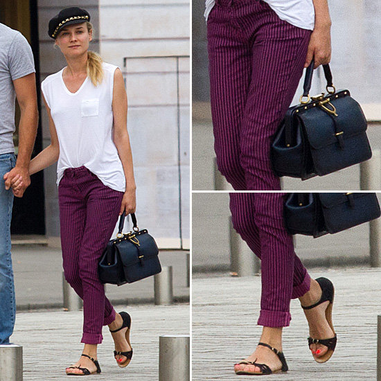 Diane Kruger StyleChi Paris Black Sandals Purple Striped Slim Jeans White Pocket T-Shirt Black Gold Cap