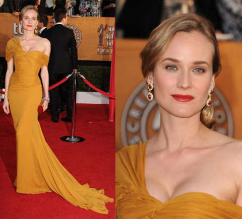 Diane Kruger StyleChi Red Carpet SAG Awards One Shoulder Gown