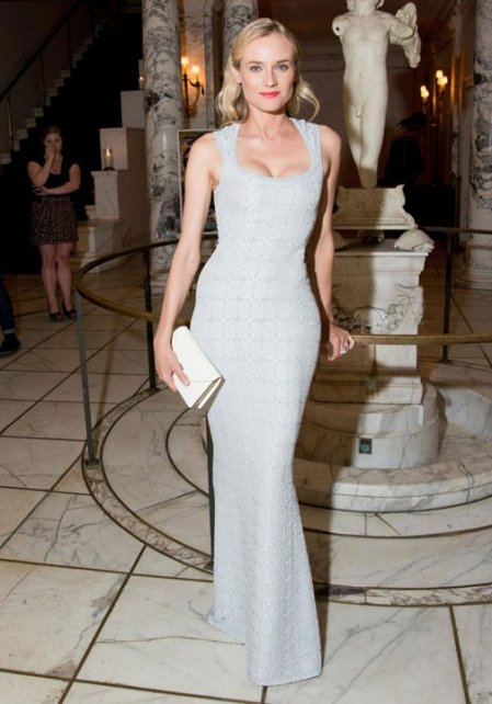 Diane Kruger StyleChi Red Carpet Style Dress Plungeing Neckline White Clutch