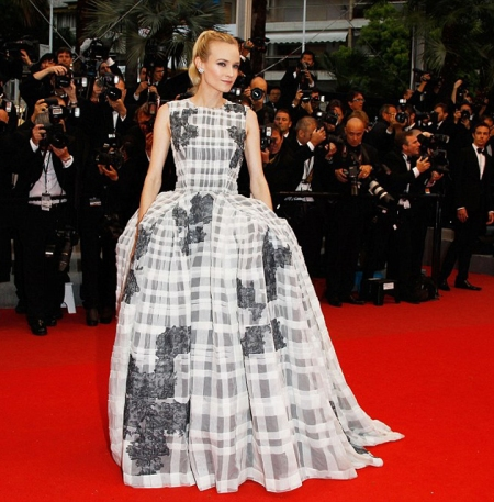 Diane Kruger StyleChi Red Carpet White Grey Sleeveless Puff Ball Gown