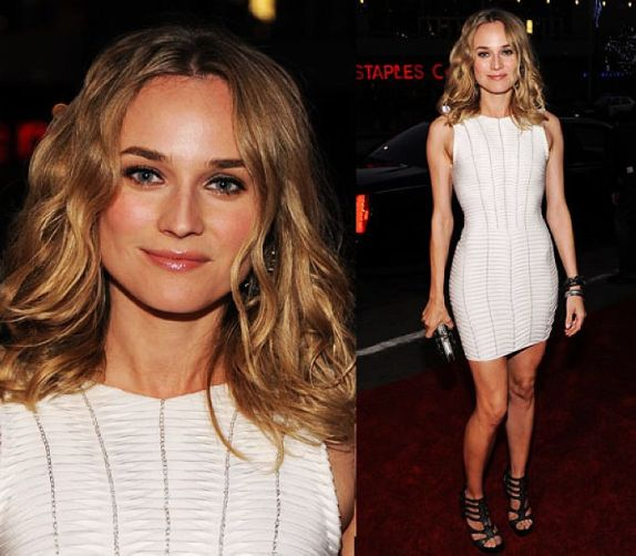 Diane Kruger StyleChi Red Carpet White Sleeveless Mini Dress Strappy Heels