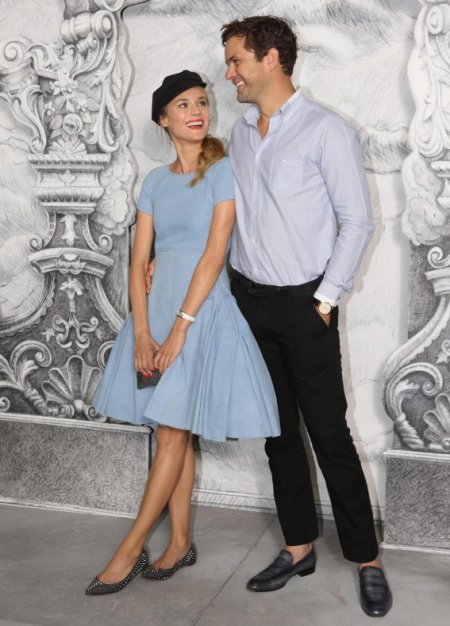 Diane Kruger StyleChi Retro Blue Skater Style Dress Studded Pointed Ballerina Flats Black French Style Hat Joshua Jackson