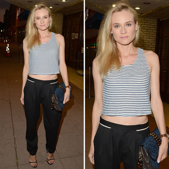 Diane Kruger StyleChi Sleeveless Striped Monochrome Crop Top Black Tailored Trousers Barely There Heels Casual Chic