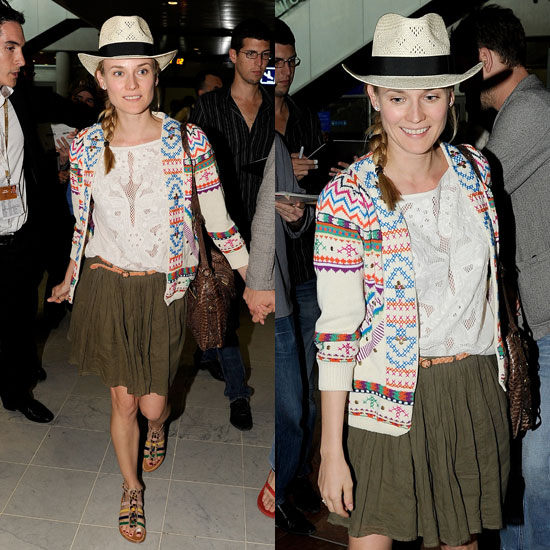 Diane Kruger StyleChi Straw Hat Black Ribbon Cream Multicoloured Aztec Jacket Crochet Detail White Top Khahi Skirt Brown Plaited Belt Sandals