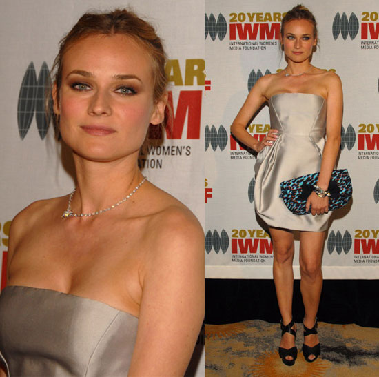 Diane Kruger StyleChi Taupe Silver Strapless Puff Ball Dress Turquoise Black Red Leopard Print Oversize Clutch Black Cross Front Peep Toe Heels