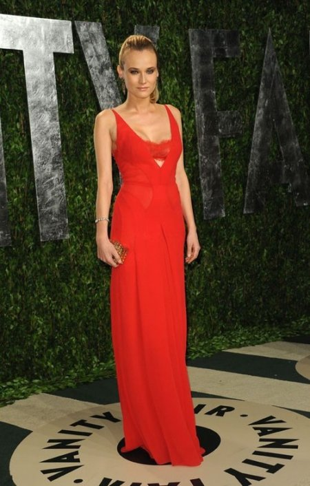 Diane Kruger StyleChi Vanity Fair Red Lace Bandeau  Sheer Panel Gown Red Carpet Style