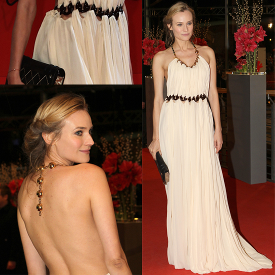 Diane Kruger StyleChi Vionnet Gown Berlin Film Festival Cream Halterneck Dress Gold Chain Black Links