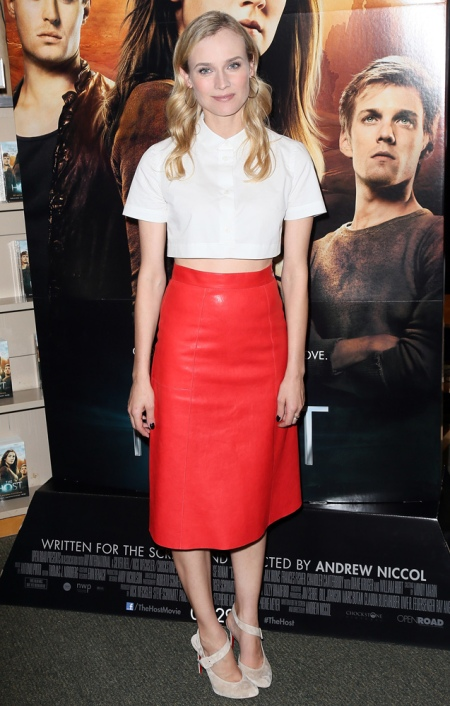 Diane Kruger StyleChi White Short Sleeve Cropped Shirt High Waist Midi Length Red Leather Skirt Beige Suede Asymmetrical Heels