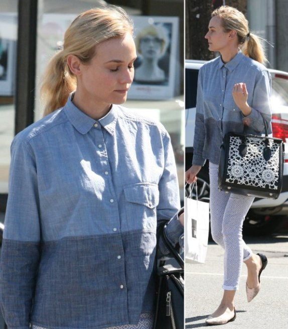 Diane Kruger StyleChi Zara Double Denim Style Linen Shirt Patterned Skinny Jeans Pointed Flats Casual Outfit