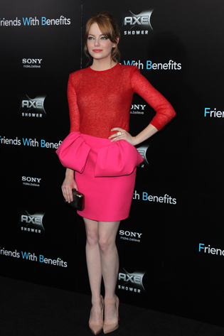 Emma Stone Red Hair StyleChi Red Pink Dress Ensemble Peplum Nude Heels