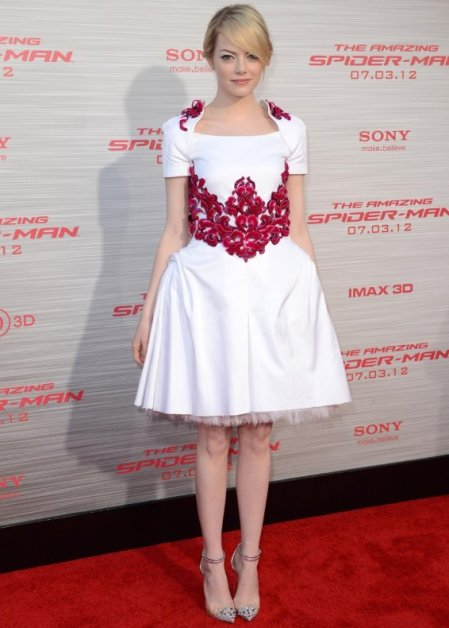 Emma Stone StyleChi 2013 Chanel White Dress Red Lace Embellishment Short Sleeve