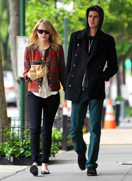 Emma Stone StyleChi Andrew Garfield Collarless Tartan Jacket Gold Buttons Sunglasses Black Skinny Jeans White Blouse Ballerina Flats