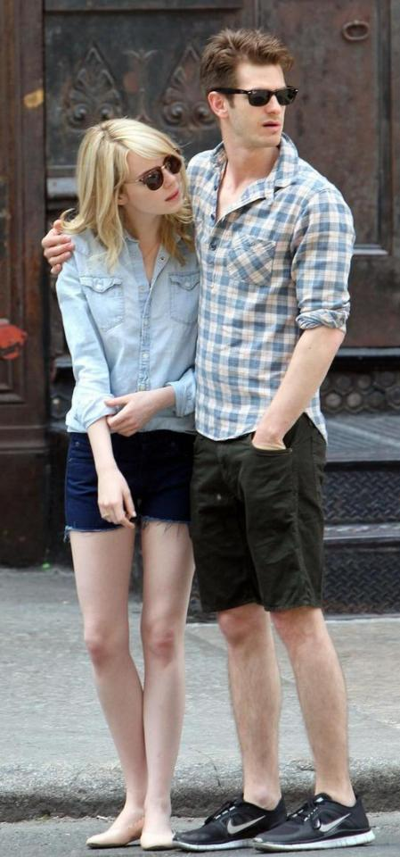 Emma Stone StyleChi Blonde Andrew Garfield Light Denim Shirt Dark Denim Cut Off Shorts Nude Ballerina Shoes Sunglasses