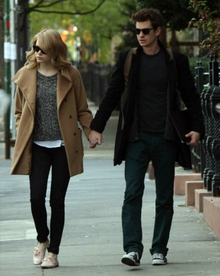 Emma Stone StyleChi Blonde Beige Boyfriend Coat Oatmeal Marl Sweater Black Skinny Jeans Nude Brogues