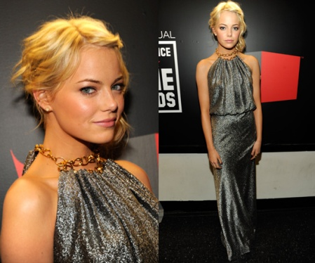 Emma Stone StyleChi Blonde Pewter Glitter Gown Gold Chain Neck Halter