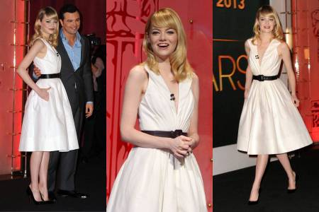 Emma Stone StyleChi Blonde White Marilyn Monroe Style White Dress Black Belt Retro Vintage