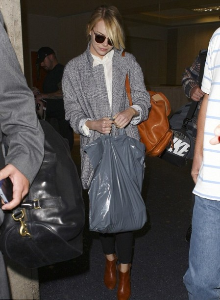 Emma Stone StyleChi Brown tan Ankle Boots Back Pack Marl Grey Boyfriend Oversize Coat White Shirt Black Skinny Jeans Sunglasses