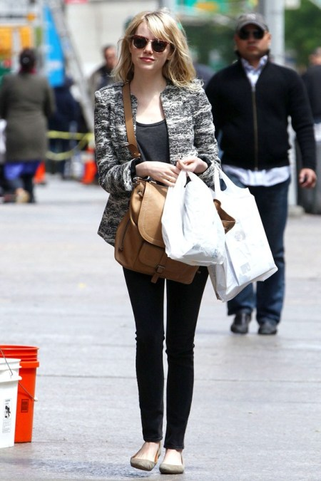 Emma Stone StyleChi Casual Style Marl Black White Tweed Jacket Brown Oversize Satchel Black Skinny Jeans Taupe Suede Ballerina Flats Sunglasses Black Top