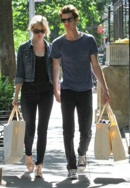 Emma Stone StyleChi Denim Jacket Black Skinny Jeans Sunglasses Lace Up Nude Metallic Brogues Andrew Garfield
