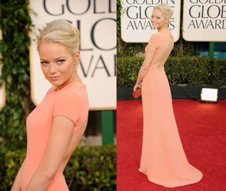 Emma Stone StyleChi Golden Globes 2011 Calvin Klein Salmon Pink Coral Short Sleeve Backless Gown Best Look Blonde Updo