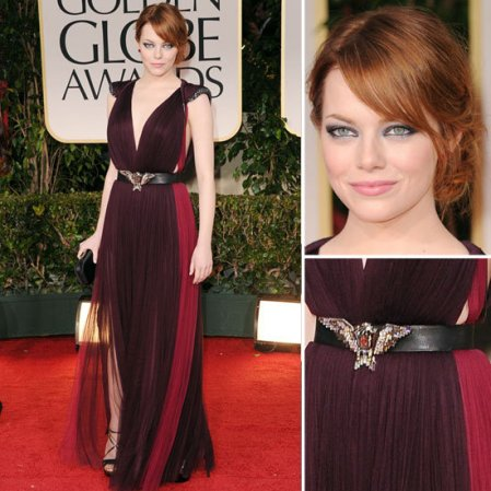 Emma Stone StyleChi Golden Globes 2013 Purple BUrgundy Chiffon Dress Eagle Belt Red Hair Deep V-Neck Plunge
