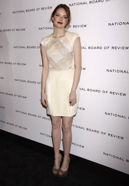 Emma Stone StyleChi J Mendel Cream White Cap Sleeve Dress