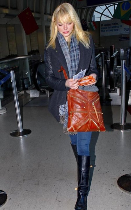 Emma Stone StyleChi LAX Blonde Blue Tartan Scarf Navy Coat Leather Sleeves Knee High Black Leather Boots Dark Skinny Jeans Brown Leather Bag