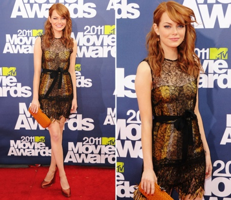 Emma Stone StyleChi MTV Movie Awards Red Hair Orange clutch Bronze Satin Heels Black Sheer Lace Overlay Yellow Corset Dress Black Ribbon Belt