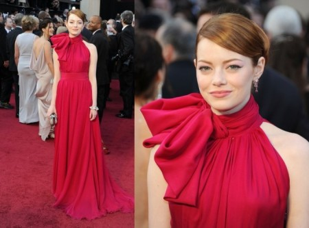 Emma Stone StyleChi Oscar Awards Red Hair Updo Red High Neck Giant Bow Gown