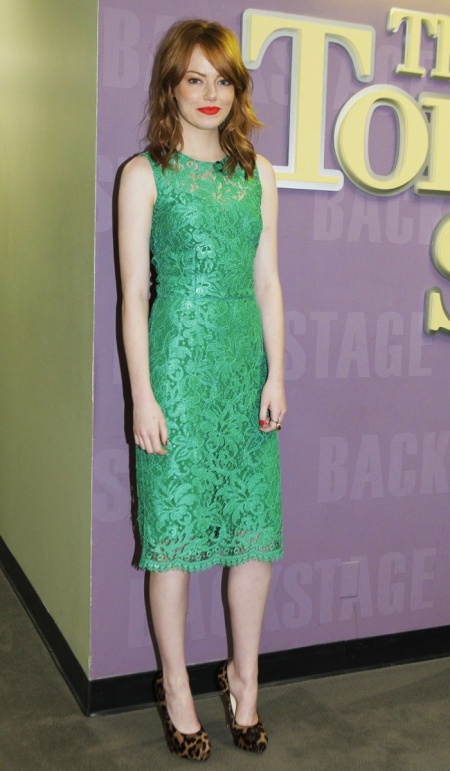 Emma Stone StyleChi Red Hair Lip Green Lace Sleeveless  Midi Dress Leopard Print Wedge Heels