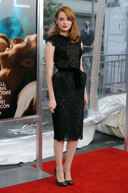 Emma Stone StyleChi Red Hair Red Hair Midi Black Lace Overlay Cap Sleeve Black Belt Dress