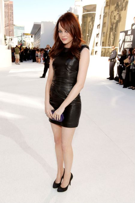 Emma Stone StyleChi VMA Cap Sleeve Black Leather Dress Purple Clutch Dark Red Hair
