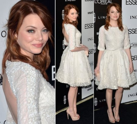 Emma Stone StyleChi White Mid Sleeve Lace Bow Waist Backless Dress Nude Peep Toe Heels Red Hair