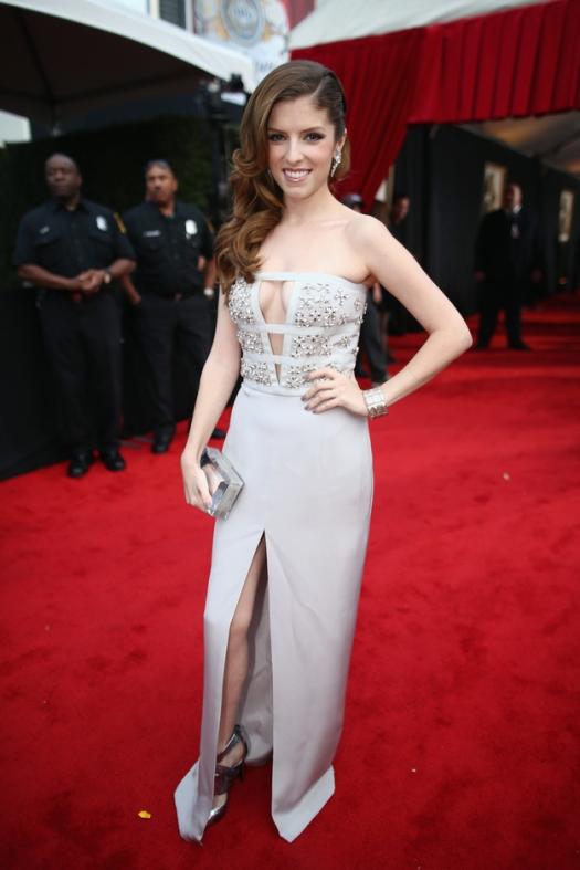 Anna Kendrick Grammy Awards 2014 Style StyleChi Cut Out Plunging Neckline Grey Embellished Split Dress
